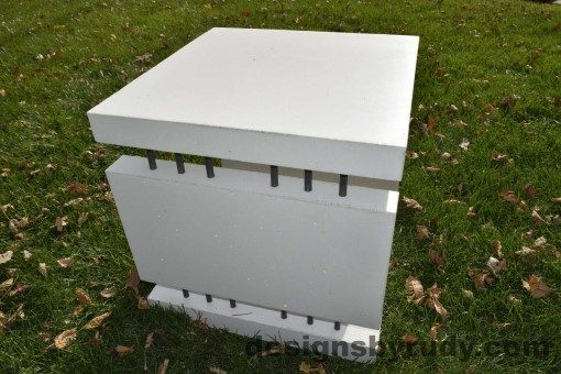 19 White Concrete Side Table DR0 natural lighting, full side view, Designs by Rudy