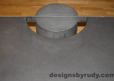 Black Concrete Coffee Table, Polished Steel Frame, frame and leg connection top view 5, with flash Designs by Rudy