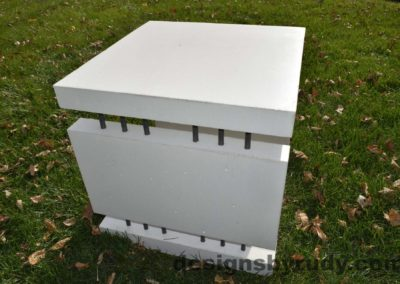 19L White Concrete Side Table DR0 natural lighting, full side view, Designs by Rudy