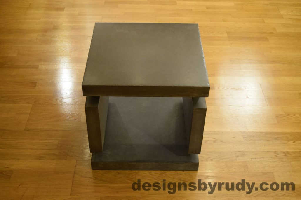 1L Charcoal Concrete Side Table DR0 front view, no flash, Designs by Rudy