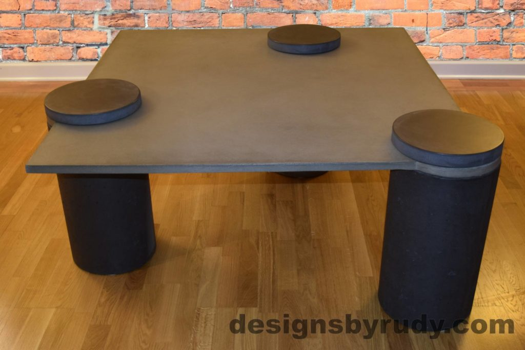 DR18 Gray Concrete Coffee Table, Charcoal Pillars, Charcoal Caps, Designs by Rudy