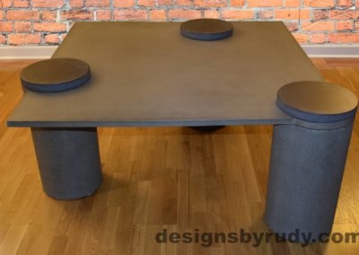 1L Gray Concrete Coffee Table, Gray Pillars, Charcoal Caps, Designs by Rudy