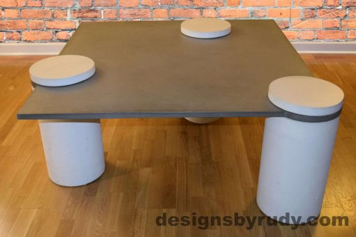 1L Gray Concrete Coffee Table, White Pillars, all White Caps, Designs by Rudy DR18