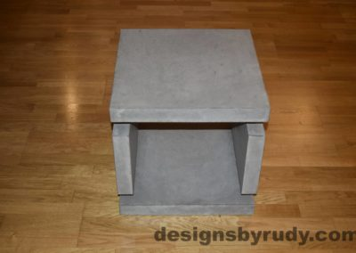 1L Gray Concrete Side Table DR0 full front view no flash, Designs by Rudy