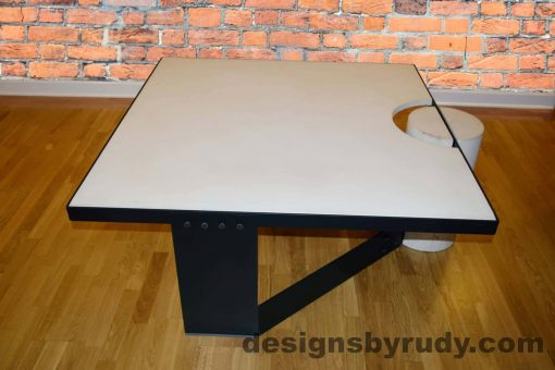 White Concrete Coffee Table, Black Steel Frame, full side view, Designs by Rudy