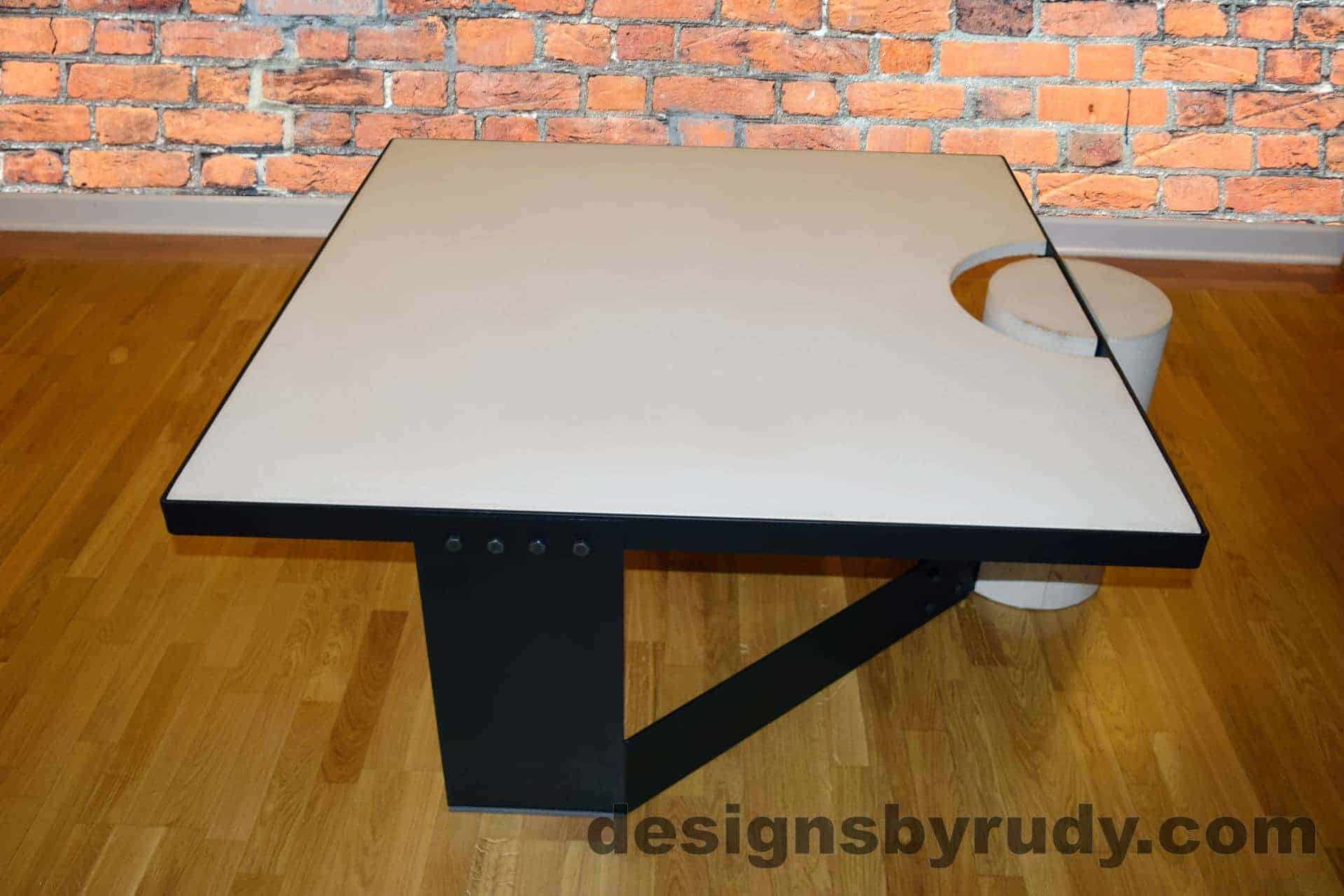 White Concrete Coffee Table Black Steel Frame Full Side View Designs By Rudy