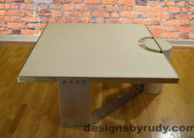 White Concrete Coffee Table, Polished Steel Frame, Designs by Rudy