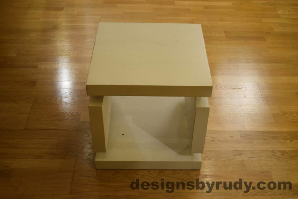 1L White Concrete Side Table DR0 full front view, no flash, Designs by Rudy