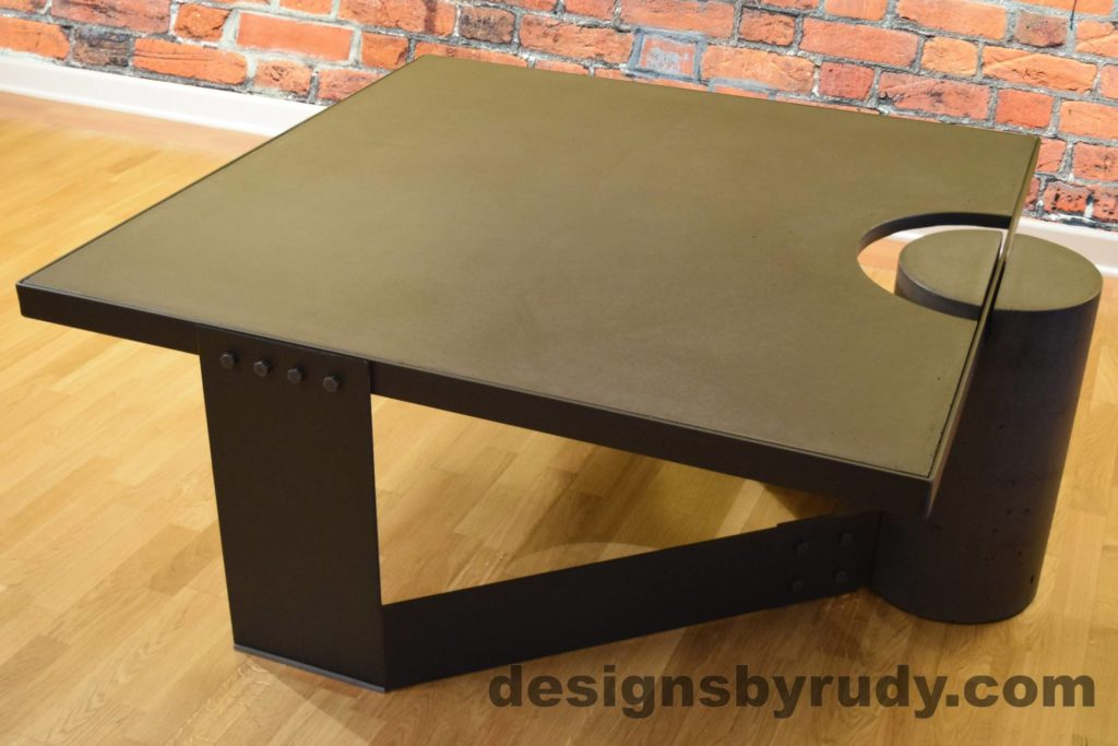 Black Concrete Coffee Table, Black Steel Frame, full rear corner perspective view, no flash, Designs by Rudy