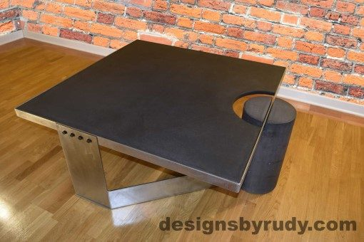 Charcoal Concrete Coffee Table, Polished Steel Frame, top angle view, with flash Designs by Rudy