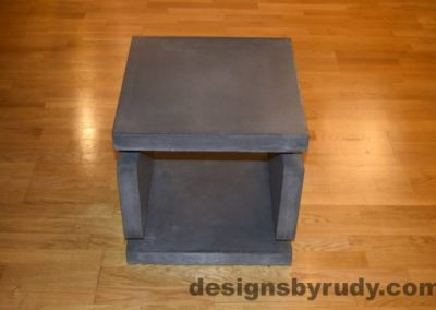 2 Charcoal Concrete Side Table DR0 front view, with flash, Designs by Rudy