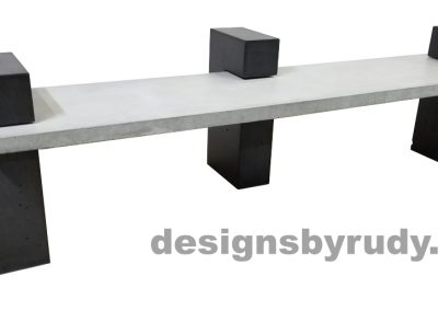 DR CB1 concrete bench on 3 pedestals by Designs by Rudy, left angle, gray slab all charcoal pedestals
