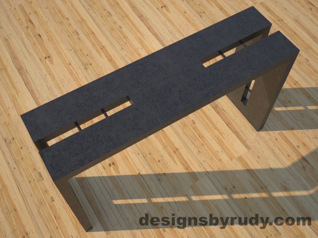2 Double Split Charcoal Concrete Console Table top angle view with steel accents Designs by Rudy