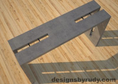 2 Double Split Gray Concrete Console Table top angle view with steel accents Designs by Rudy