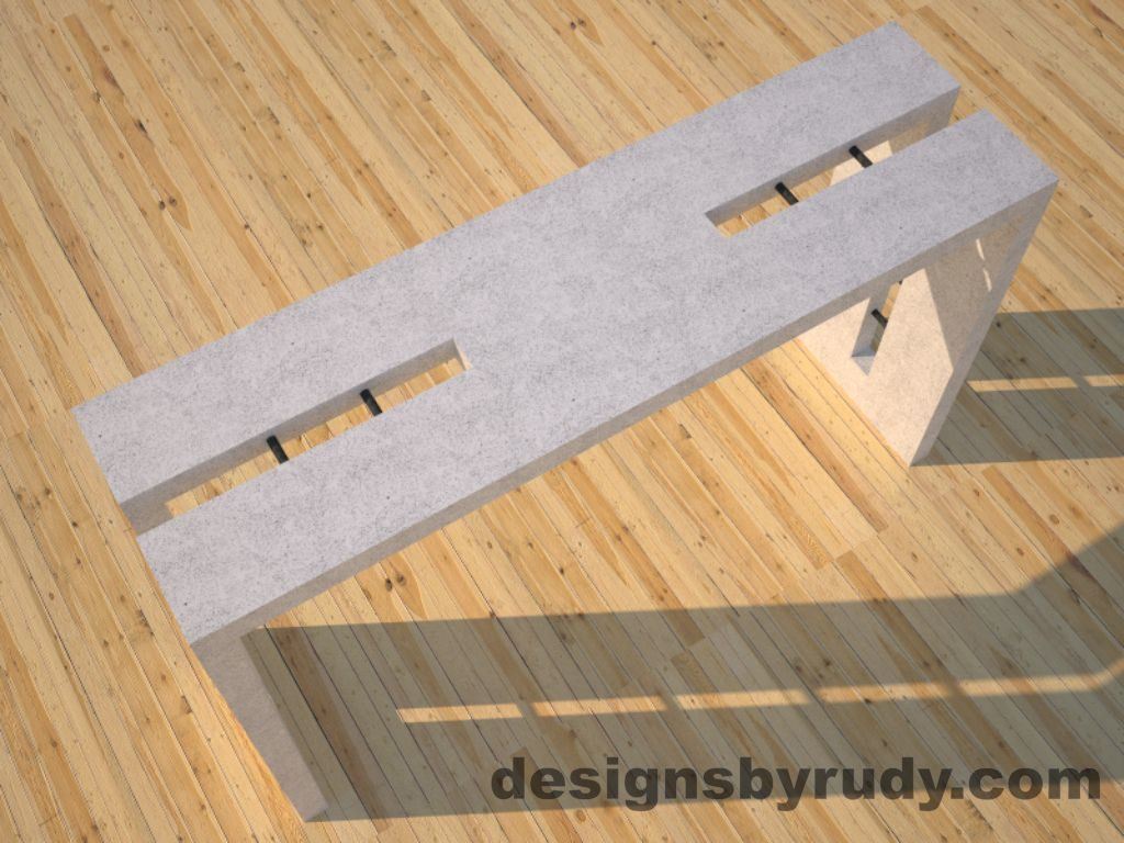 2 Double Split White Concrete Console Table top angle view with steel accents Designs by Rudy