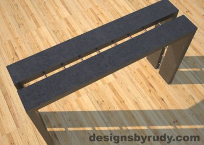 2 Full Split Charcoal Concrete Console Table top angle view with copper accents Designs by Rudy