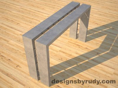 2 Full Split Gray Concrete Console Table angle view with copper accents Designs by Rudy