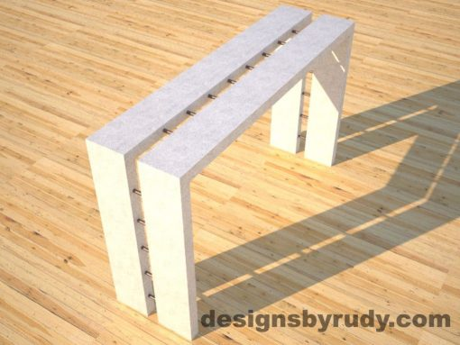 2 Full Split White Concrete Console Table angle view with copper accents Designs by Rudy