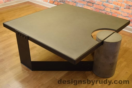 Gray Concrete Coffee Table, Black Steel Frame, top angle view 6, no flash, Designs by Rudy