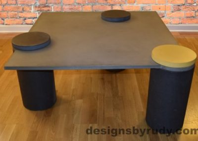 Gray Concrete Coffee Table, Charcoal Pillars, one Yellow, two Charcoal Caps, Designs by Rudy DR18