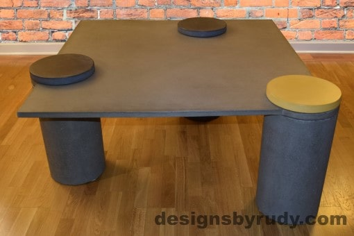 Gray Concrete Coffee Table, Gray Pillars, one Yellow, two Charcoal Caps, Designs by Rudy