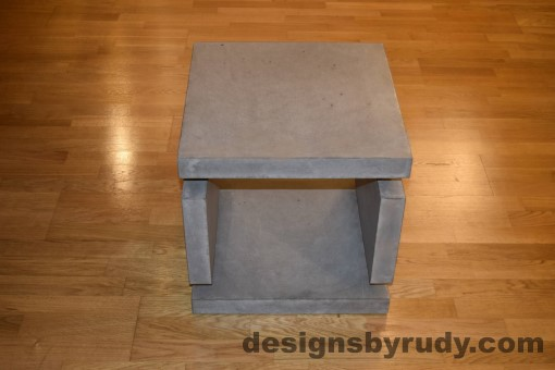 2 Gray Concrete Side Table DR0 full front view with flash, Designs by Rudy
