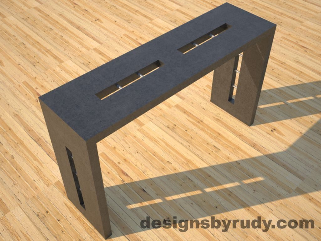 2 Quad Split Charcoal Concrete Console Table top angle view with stainless steel accents Designs by Rudy