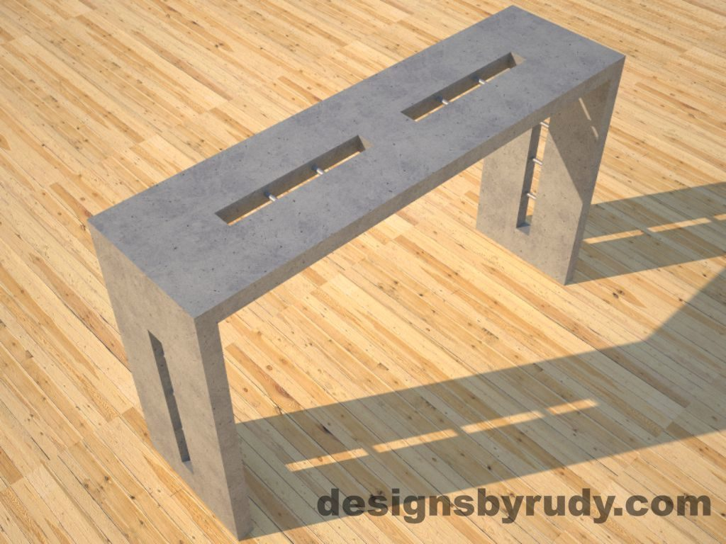 2 Quad Split Gray Concrete Console Table top angle view with stainless steel accents Designs by Rudy