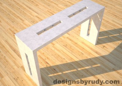 2 Quad Split White Concrete Console Table top angle view with stainless steel accents Designs by Rudy