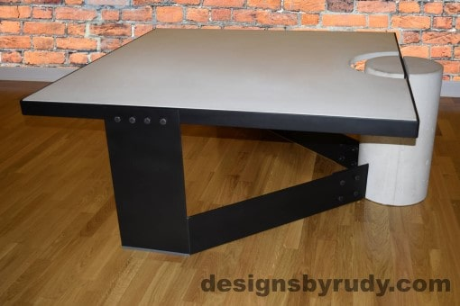 White Concrete Coffee Table, Black Steel Frame, full side view 2, Designs by Rudy