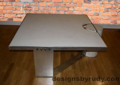 2 White Concrete Coffee Table, Polished Steel Frame, with flash Designs by Rudy
