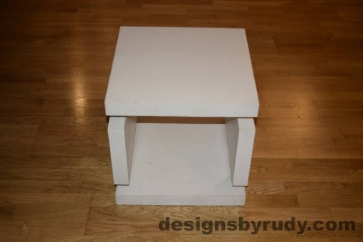 2 White Concrete Side Table DR0 full front view, with flash, Designs by Rudy