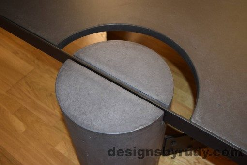 Charcoal Concrete Coffee Table, Black Steel Frame, round leg top angle view, with flash, Designs by Rudy
