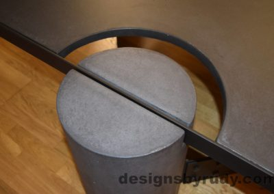 Black Concrete Coffee Table, Black Steel Frame, round leg top angle view, with flash, Designs by Rudy