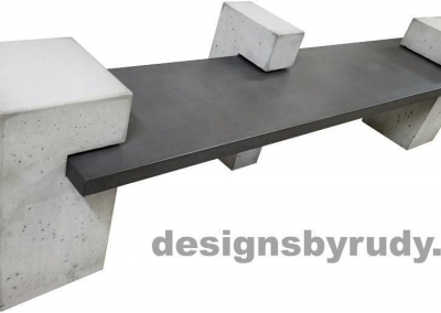 DR CB1 concrete bench on 3 pedestals by Designs by Rudy, left top angle view, slab in charcoal concrete and 3 pedestals in gray concrete