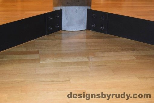 Gray Concrete Coffee Table, Black Steel Frame, concrete leg and steel leg extension joint detail 6, Designs by Rudy