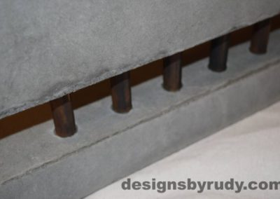 20 Gray Concrete Side Table DR0 front bottom copper accent view, with flash, white bg, Designs by Rudy