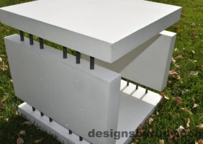 20 White Concrete Side Table DR0 natural lighting, full angle view 2 closeup, Designs by Rudy