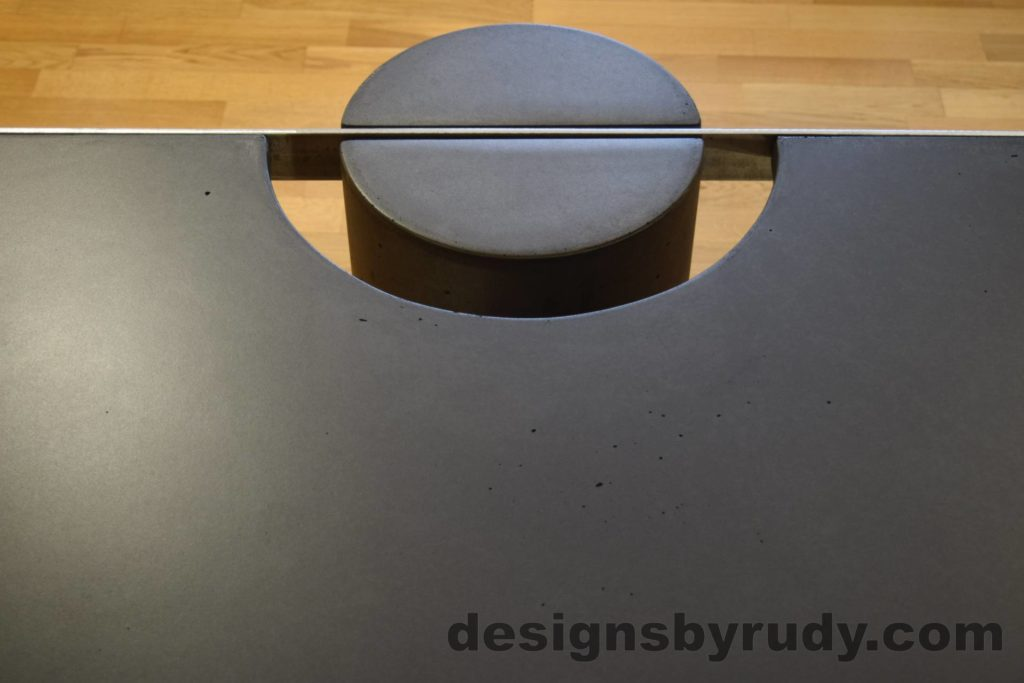 Black Concrete Coffee Table, Polished Steel Frame, frame and leg connection top view 4, with flash Designs by Rudy