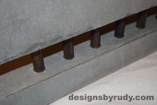 20L Gray Concrete Side Table DR0 front bottom copper accent view, with flash, white bg, Designs by Rudy