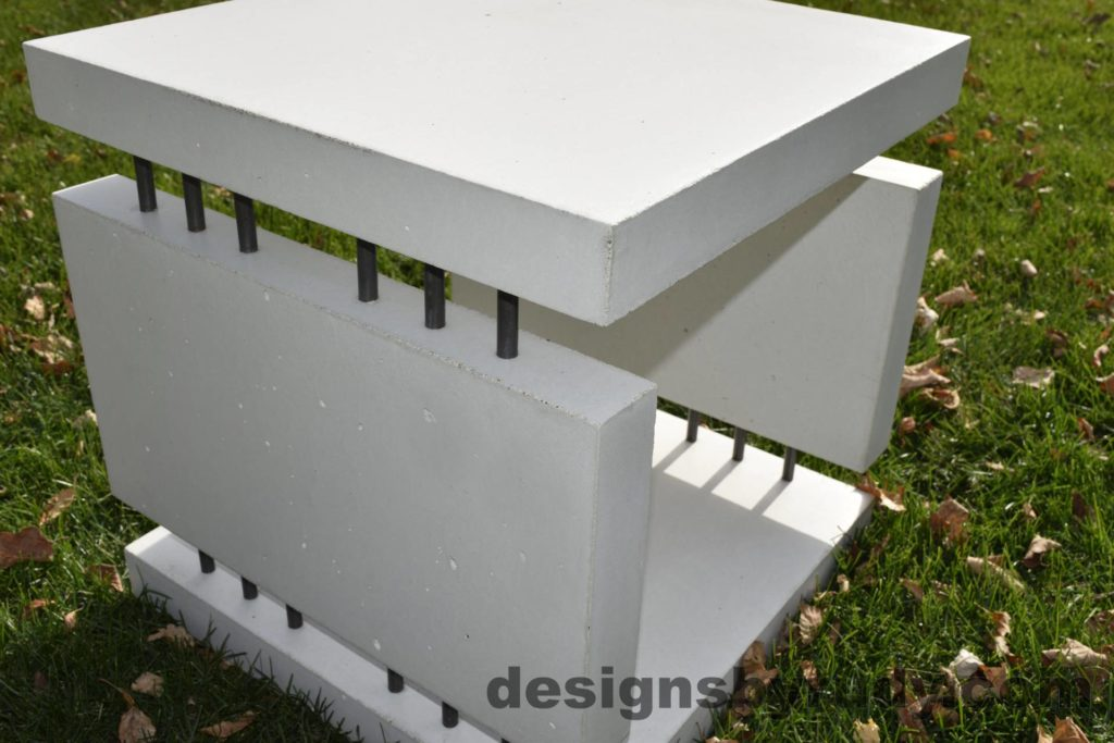 20L White Concrete Side Table DR0 natural lighting, full angle view 2 closeup, Designs by Rudy