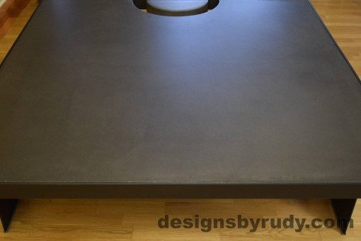 Charcoal Concrete Coffee Table, Black Steel Frame, front edge view, no flash, Designs by Rudy