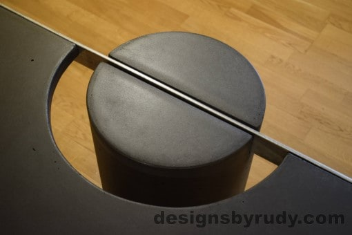 Charcoal Concrete Coffee Table, Polished Steel Frame, frame and leg connection top view 5, no flash Designs by Rudy