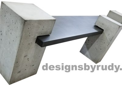DR CB1 concrete bench on 3 pedestals by Designs by Rudy, rear view, slab in charcoal concrete and 3 pedestals in gray concrete