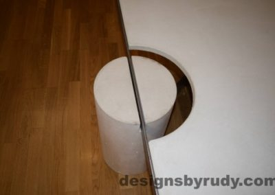21 White Concrete Coffee Table, Polished Steel Frame, round leg top view closeup 3 with flash Designs by Rudy