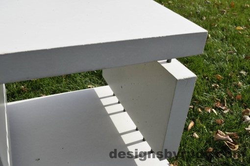 21 White Concrete Side Table DR0 natural lighting, inside view 2, Designs by Rudy