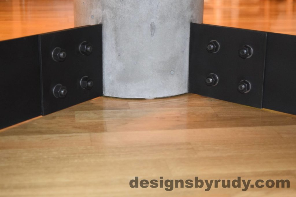 Gray Concrete Coffee Table, Black Steel Frame, concrete leg and steel leg extension joint detail 5, Designs by Rudy