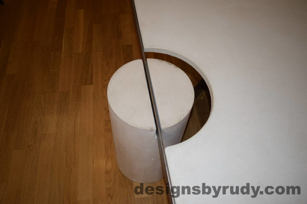 White Concrete Coffee Table, Polished Steel Frame, round leg top view closeup 3 with flash Designs by Rudy