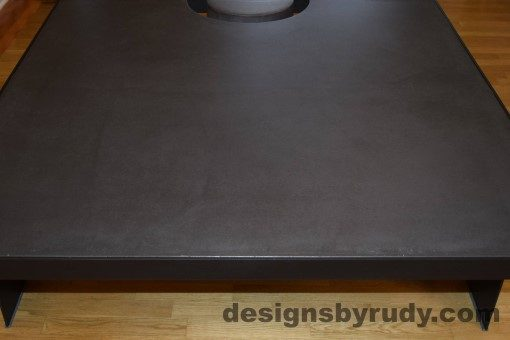 Charcoal Concrete Coffee Table, Black Steel Frame, front edge view, with flash, Designs by Rudy
