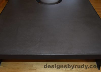 Black Concrete Coffee Table, Black Steel Frame, front edge view, with flash, Designs by Rudy